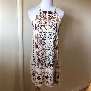Zara beaded swing dress with Floral Embroidery